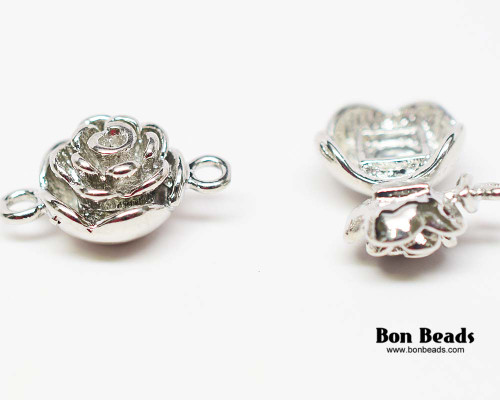 20x13x9mm Silver Flower Magnetic Clasp (Each)