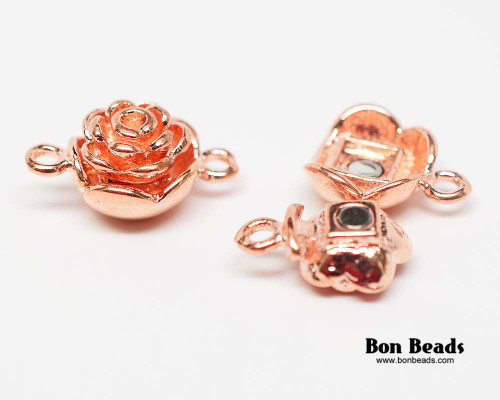 20x13x9mm Copper Flower Magnetic Clasp (Each)