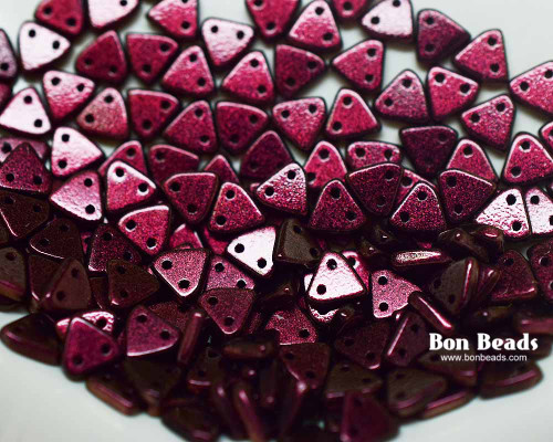 6mm Rouge Miracle Iris 2 Hole Triangles (50 Grams)