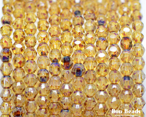 4mm Crystal Picasso Cut Fire Polished Bicone (600 Pieces)