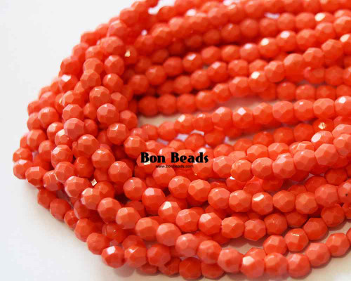 4mm Coral Round Fire Polished (600 Pieces)