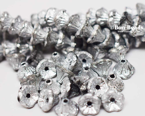 7x5mm Full Silver Etched Flower Cups (300 Pieces)