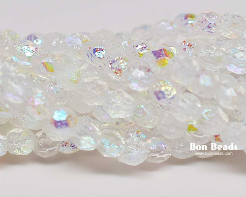 4mm Crystal AB Etched Round Fire Polished (600 Pieces)