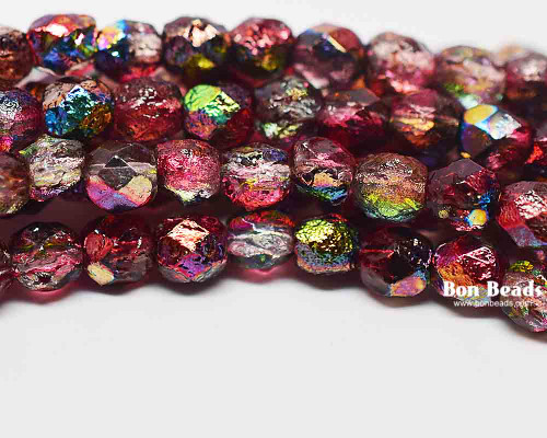 6mm Magic Ruby Etched Round Fire Polished (300 Pieces)