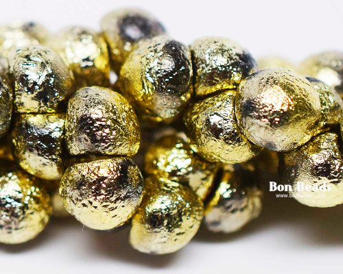9x8mm Gold Ore Etched Wide Cap Mushroom Buttons (150 Pieces)