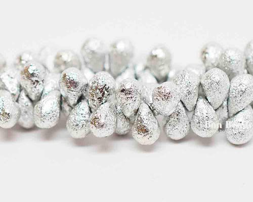 4x6mm Silver Ore Etched Drops (300 Pieces)