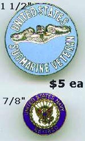 Submarine Veteran Pins