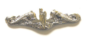 enlisted silver dolphins-mirror finish, full size Enlisted submarine warfare qualification pin