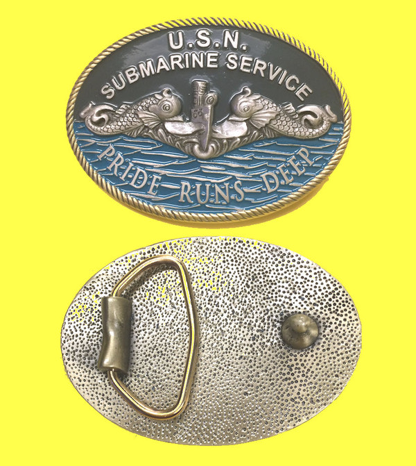 Front and Back photo of Submarine Service Belt Buckle