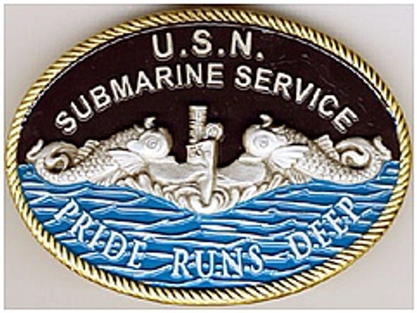 BELT BUCKLE U.S.N. SUBMARINE SERVICE SILVER DOLPHINS PRIDE RUNS DEEP exclusive design copyright submarineshop.com