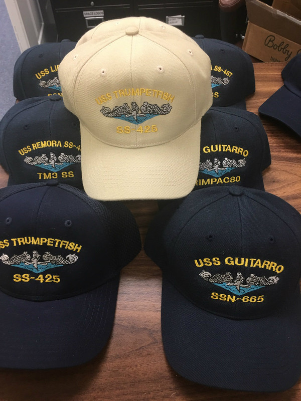 Custom Boat caps,  Submarine Dolphins, embroidered your way.