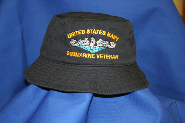 Navy Bucket hat,  United States Navy Submarine Veteran design custom embroidery available