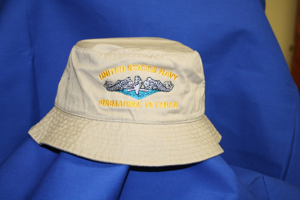 Tan Bucket hat,  United States Navy Submarine Veteran design custom embroidery available