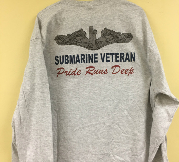 Submarine Veteran Pride runs deep T-shirt, long sleeve available in Ash, Light Blue, Sand or white