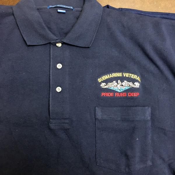 Navy Blue Pocket Polo Submarine Veteran, Pride runs deep