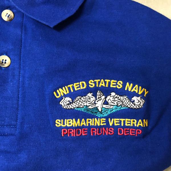 Royal  Blue Pocket Polo Submarine Veteran, Pride runs deep