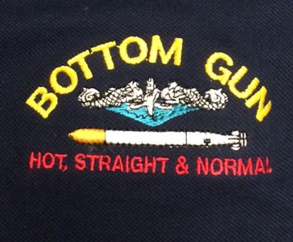 Bottom Gun embroidery example
