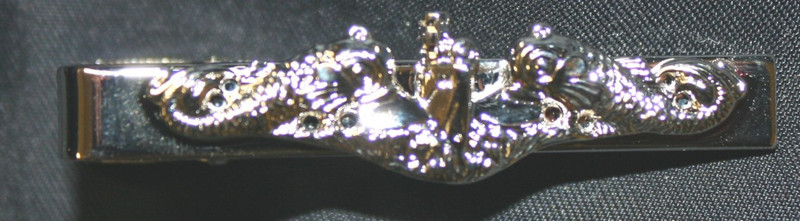 TIE CLASP, TIE BAR, SILVER DOLPHINS, ENLISTED