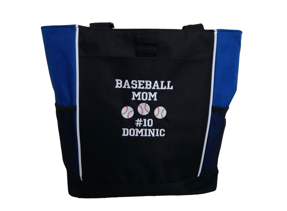 Baseball Softball Sports Team Mom Custom Personalized ROYRAL BLUE Tote Bag Font Style VARSITY