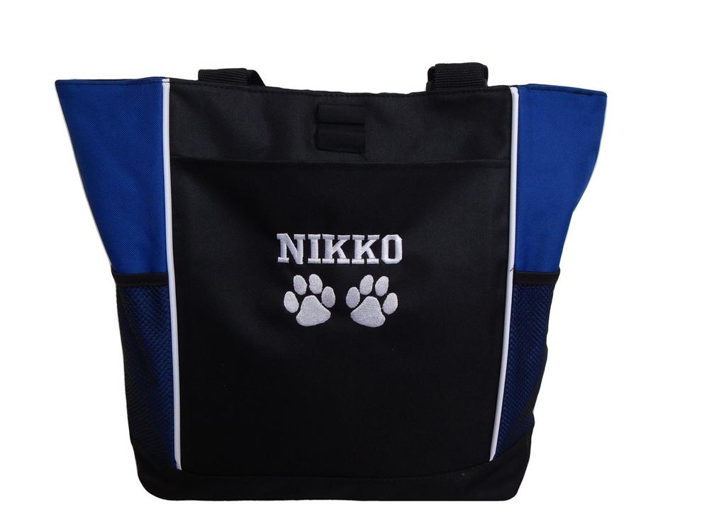Paw Prints Vet Tech K-9 Canine Unit Doctor Dog Groomer Walker Pet Sitting Custom Embroidered ROYAL BLUE Tote Bag Font Style VARSITY
