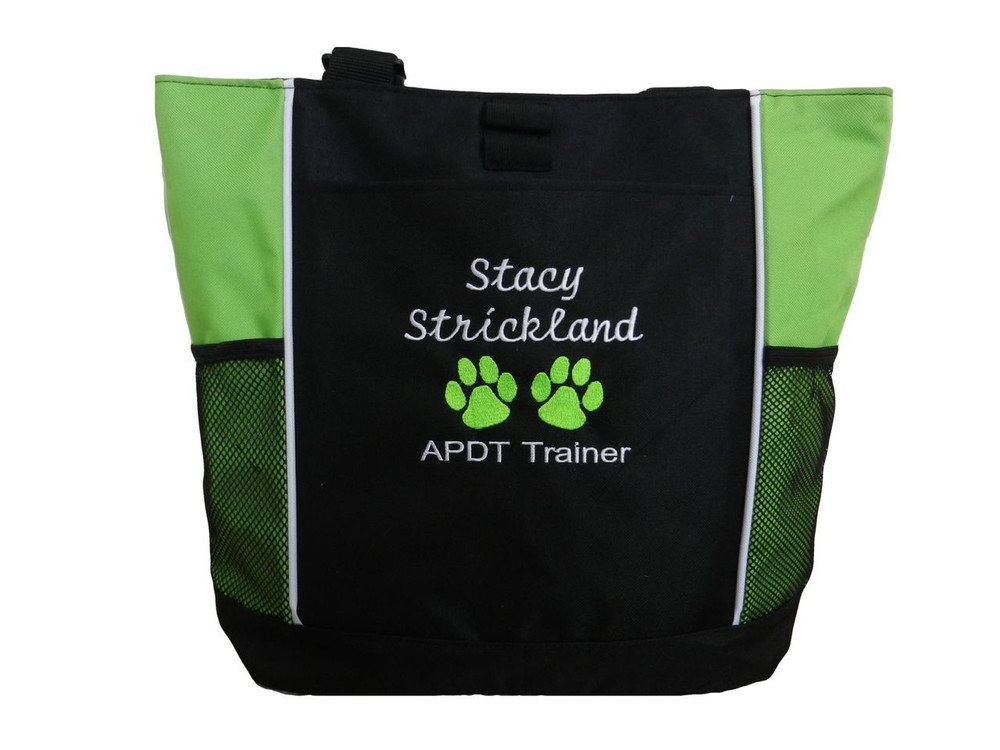Paw Prints Vet Tech APDT Trainer K-9 Canine Unit Custom Embroidered LIME GREEN Tote Bag Font Style Cursive