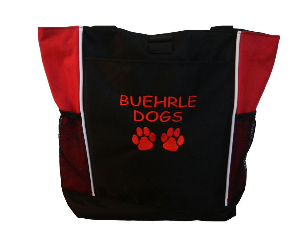 Paw Prints Vet Tech Veterinary Assistant  Trainer K-9 Canine Police Unit Dog Groomer Walker Pet Sitting Custom Embroidered RED Tote Bag Font Style Comic Sans