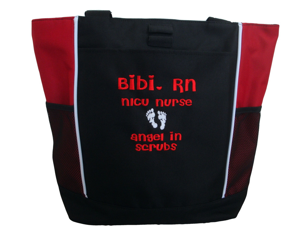 Baby Feet Footprints Angel in Scrubs Quote Nursing NICU Nurse RN BSN Mother Baby ER Embergency Room Labor & Delivery RED Tote Bag Font Style CHERI