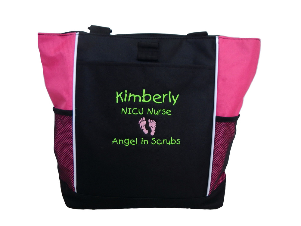 Baby Feet Footprints Angel in Scrubs Quote Nursing NICU Nurse RN BSN Mother Baby ER Embergency Room Labor & Delivery TROPICAL HOT PINK Tote Bag Font Style CHILDS PLAY