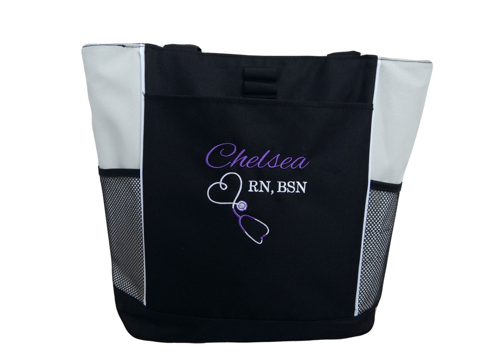 Upside Down Heart Stethoscope Nursing Registered Nurse RN BSN STONE Tote Bag Font Style ALEXIS and BODINI