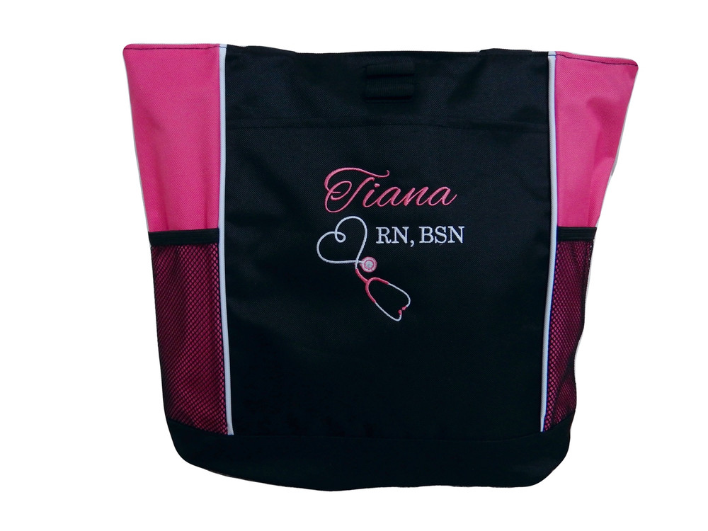 Upside Down Heart Stethoscope Nursing Registered Nurse RN BSN HOT PINK Tote Bag Font Style ALEXIS and BODINI
