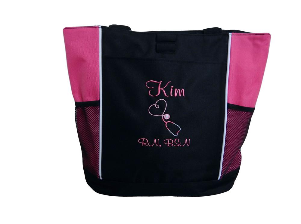 Upside Down Heart Stethoscope Nursing Registered Nurse RN BSN HOT PINK Tote Bag Font Style CASUAL SCRIPT