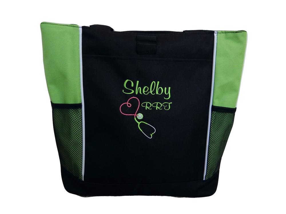 Upside Down Heart Stethoscope Respiratory Therapy Therapist Nursing Registered Nurse RRT LIME GREEN Tote Bag Font Style CASUAL SCRIPT