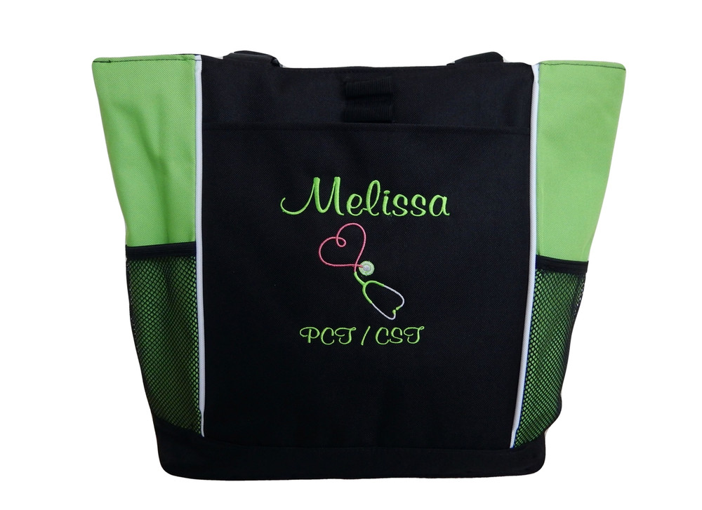Upside Down Heart Stethoscope Nursing Registered Nurse PCT CST LIME GREEN Tote Bag Font Style CASUAL SCRIPT