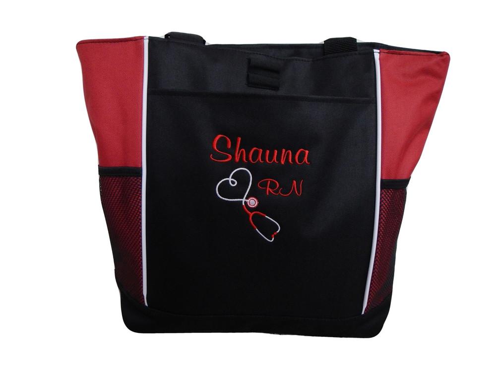 Upside Down Heart Stethoscope Nursing Registered Nurse RN BSN RED Tote Bag Font Style CASUAL SCRIPT