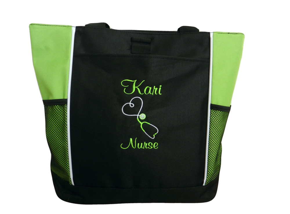 Upside Down Heart Stethoscope Nurse Midwife Registered Nurse RN BSN LIME GREEN Tote Bag Font Style CASUAL SCRIPT