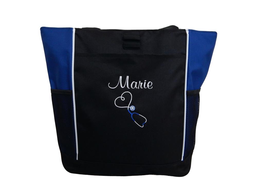 Upside Down Heart Stethoscope Nursing Registered ER Nurse RN BSN HOT PINK Tote Bag Font Style CASUAL SCRIPT