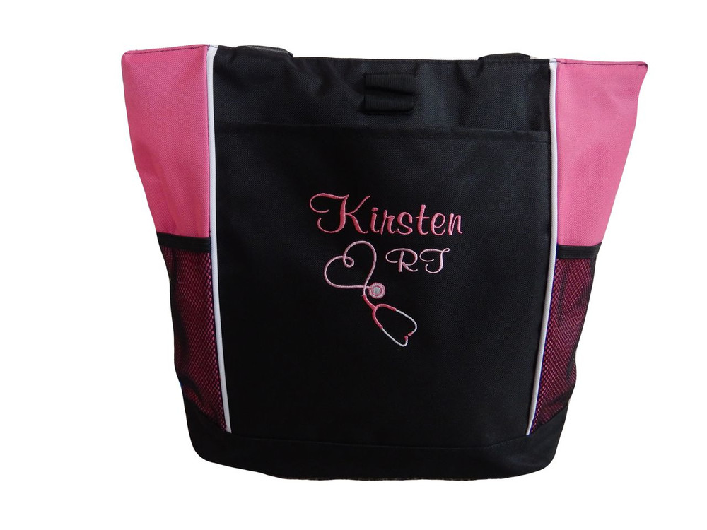 Upside Down Heart Stethoscope Nursing Registered RT RRT RN BSN Respiratory Therapy HOT PINK Tote Bag Font Style CASUAL SCRIPT