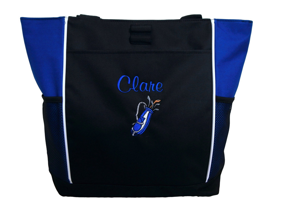 Golf Golfing Golfer Clubs ROYAL BLUE Tote Bag Personalized Embroidered Zippered Tote Bag FONT style CASUAL SCRIPT