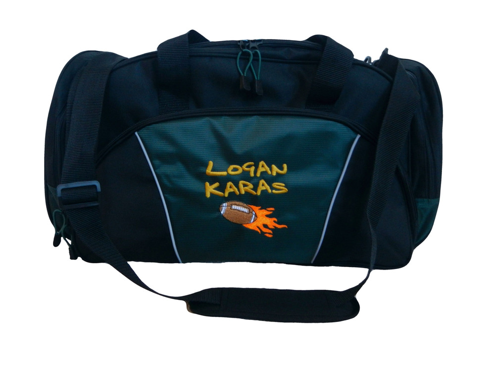 Football Flames Coach Mom Team Personalized Embroidered HUNTER GREEN DUFFEL Font Style JENKINS