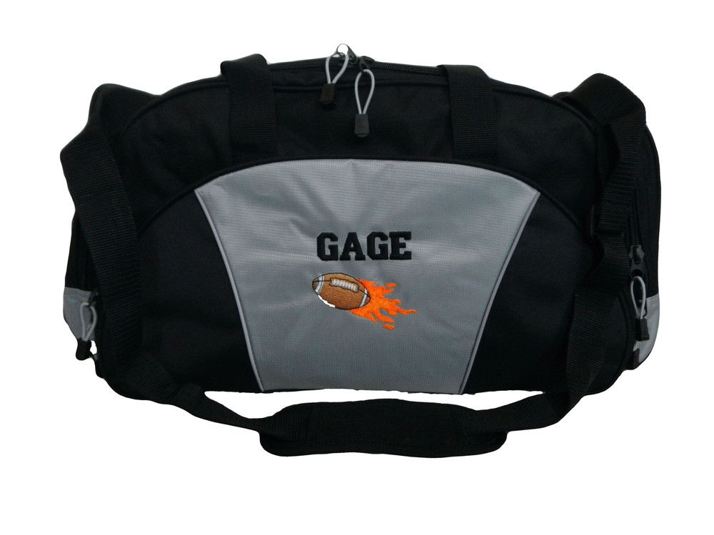 Football Flames Coach Mom Team Personalized Embroidered GREY DUFFEL Font Style VARSITY