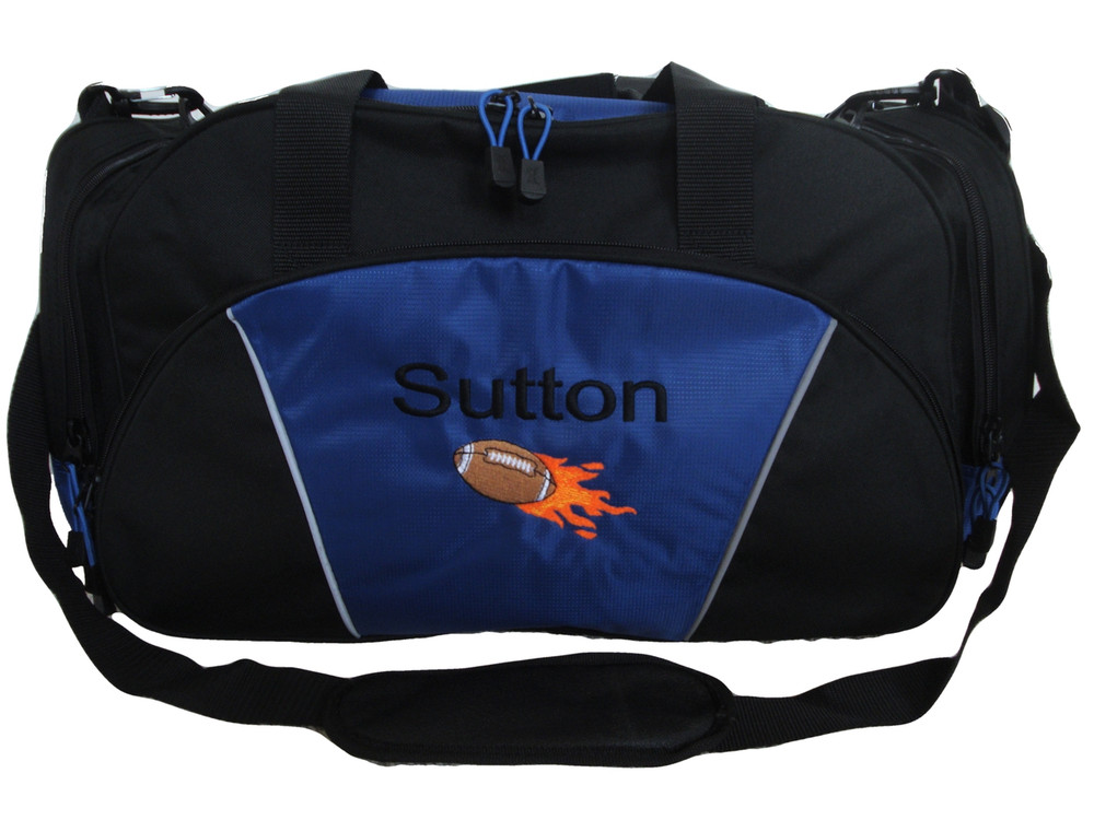 Football Flames Coach Mom Team Personalized Embroidered ROYAL BLUE DUFFEL Font Style ARIAL