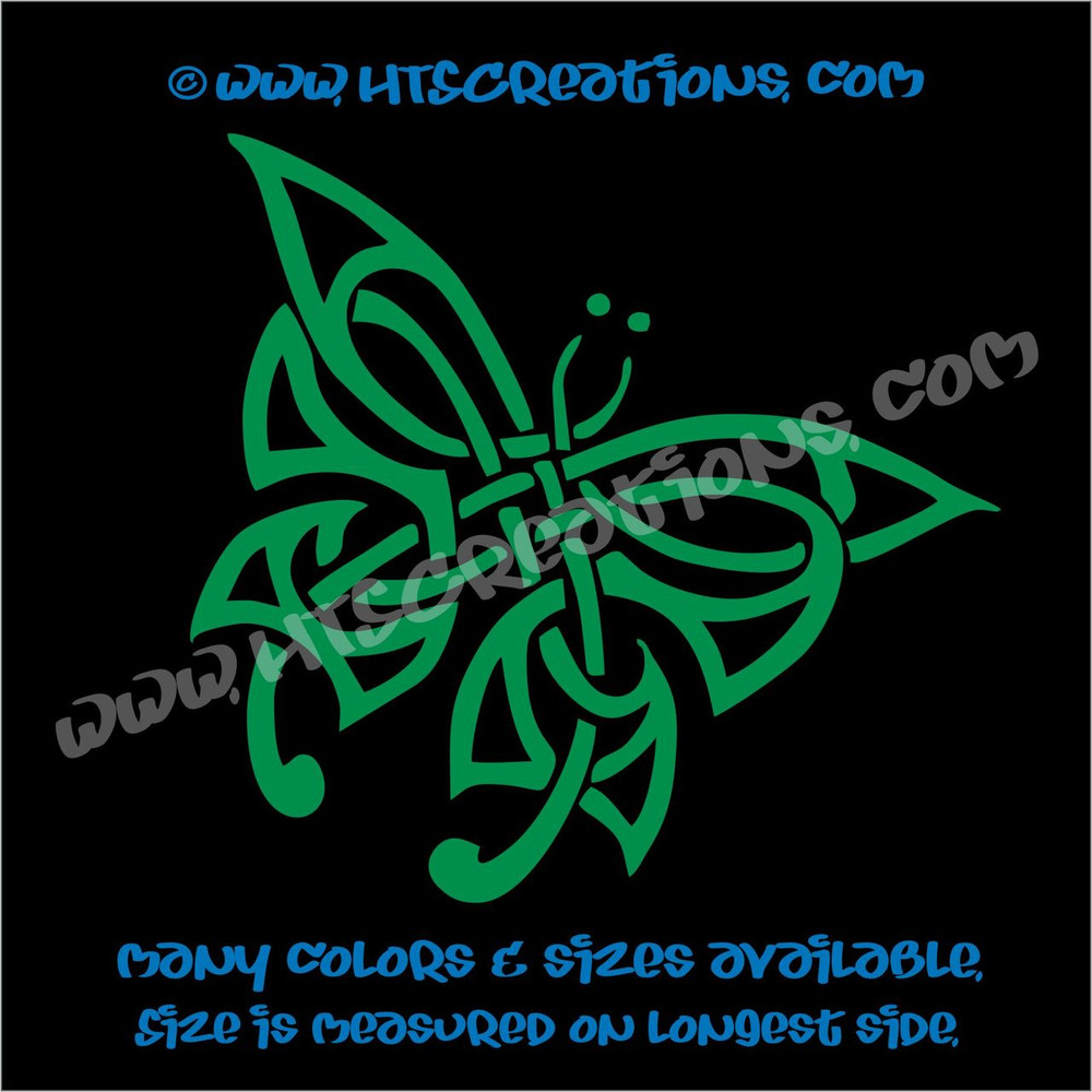Butterfly Celtic Irish Ireland Religious Church Knot Vinyl Decal KELLY GREEN