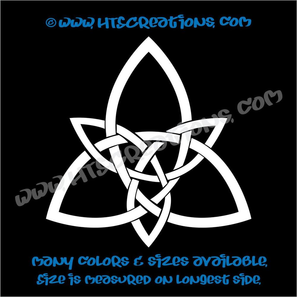 Celtic Trinity Knot Irish Dance Ireland Religious Church Triangle Solid Vinyl Decal WHITE