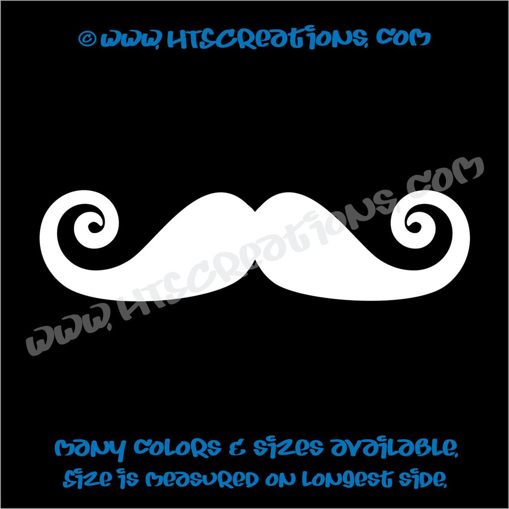 Mustache Curly Pointy Swirl Stache Hippie Boho Car Truck Boat Laptop Vinyl Decal WHITE