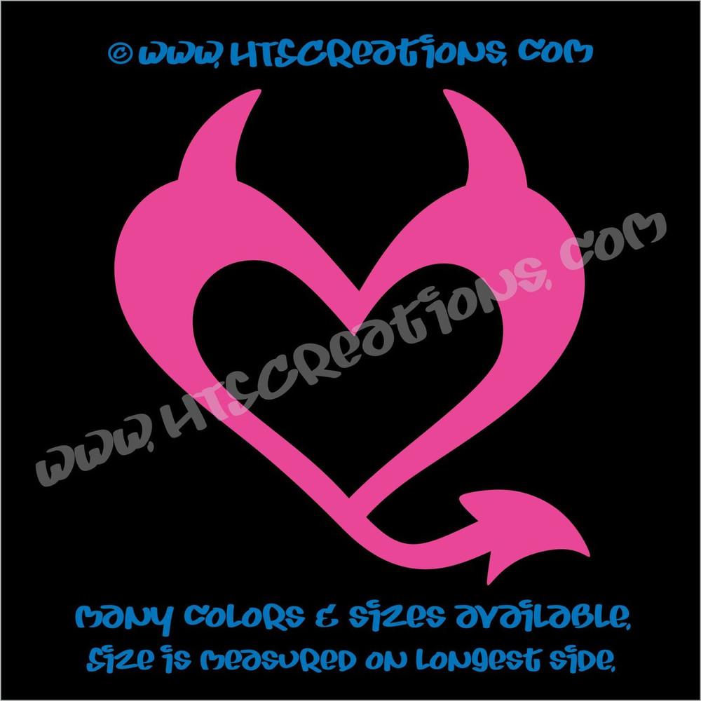 Devil Heart Horns Romance Friendship Sexy Love Car Truck Laptop Wall Vinyl Decal HOT PINK