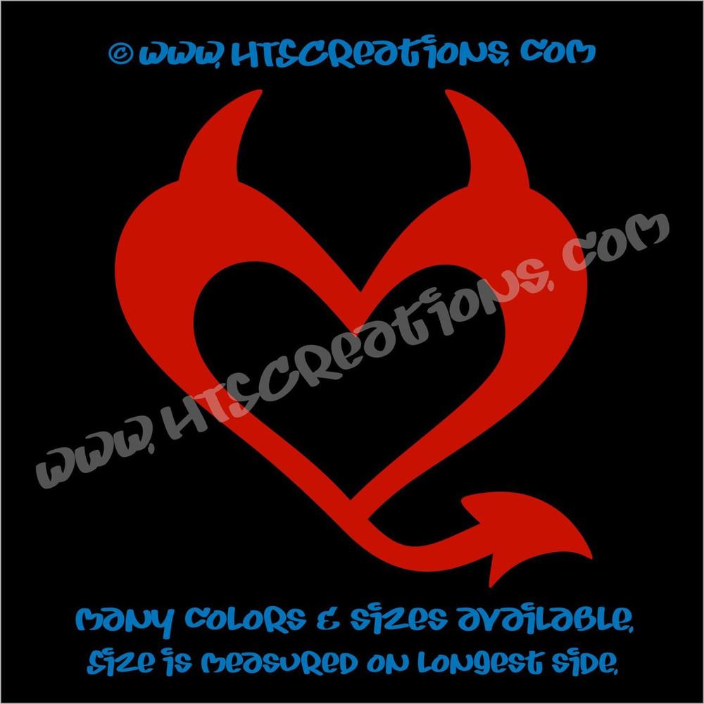 Devil Heart Horns Romance Friendship Sexy Love Car Truck Laptop Wall Vinyl Decal RED