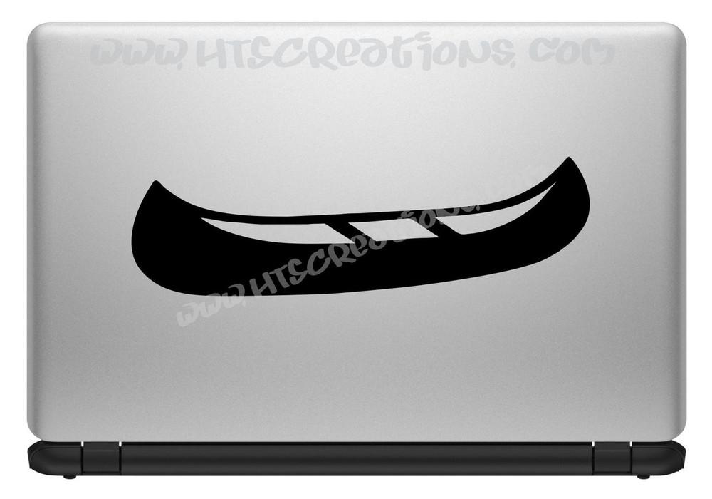Canoe Camping Lake Boat Vinyl Decal Trailer Truck Laptop Tablet Vinyl Decal BLACK