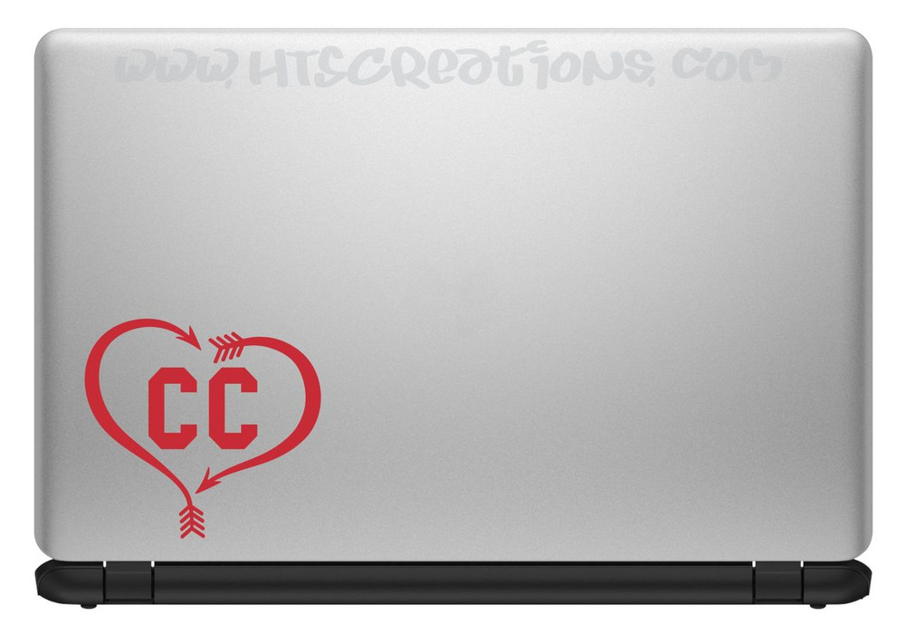 Cross Country XC Track & Field Running Heart Arrow Vinyl Decal Laptop Car Door Mirror Truck Vanity Boat RED
