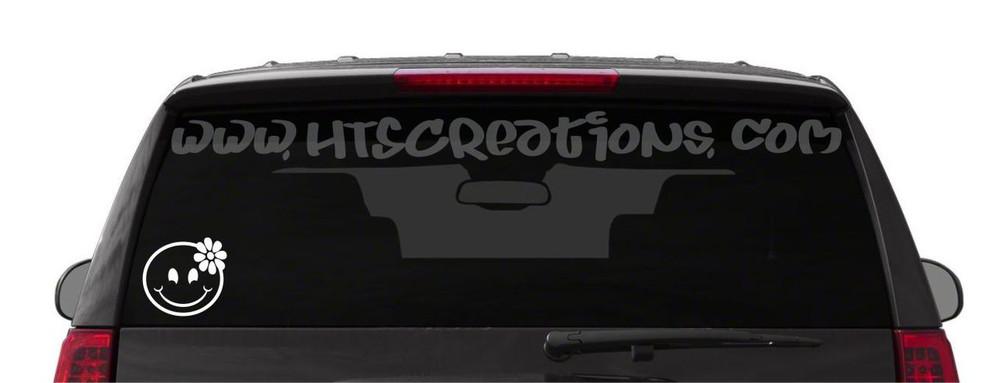 Smiley Face Hibiscus Hawaii Hawaiian Vinyl Decal Laptop Vanity Cell Phone Car Door Mirror Truck WHITE