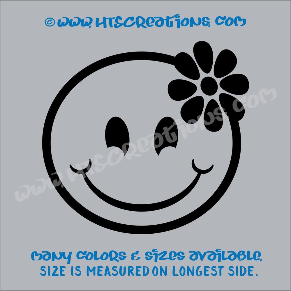 Smiley Face Hibiscus Hawaii Hawaiian Vinyl Decal Laptop Vanity Cell Phone Car Door Mirror Truck BLACK